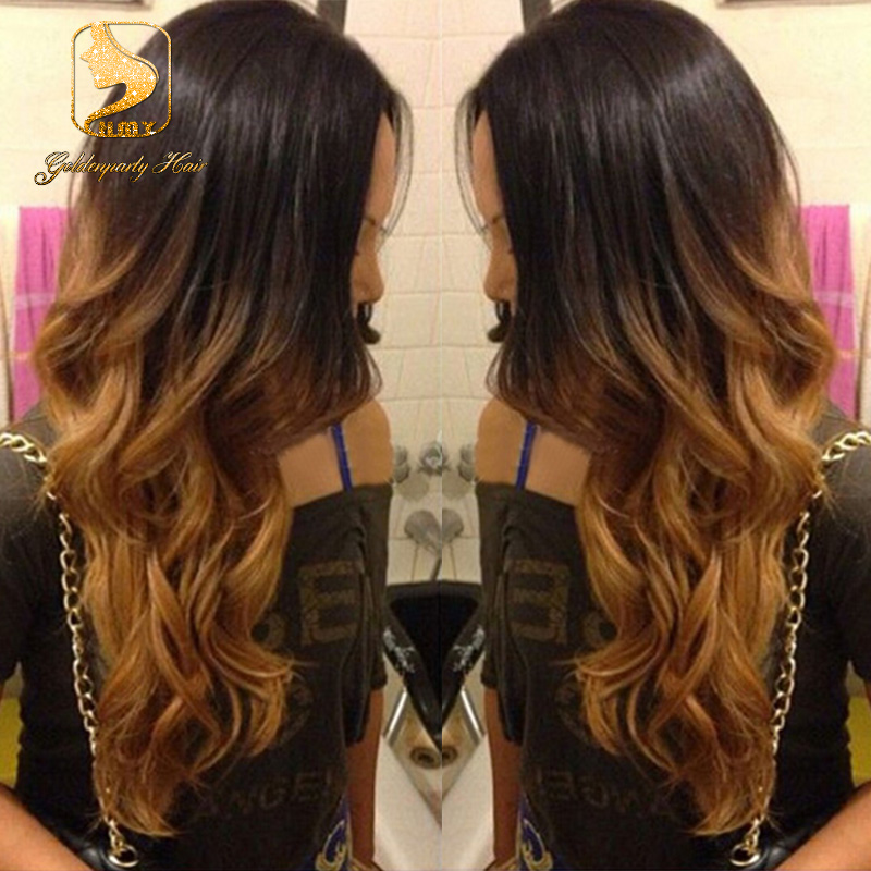 Hot130 Density 1B30 Full Lace Ombre Human Hair Wigs