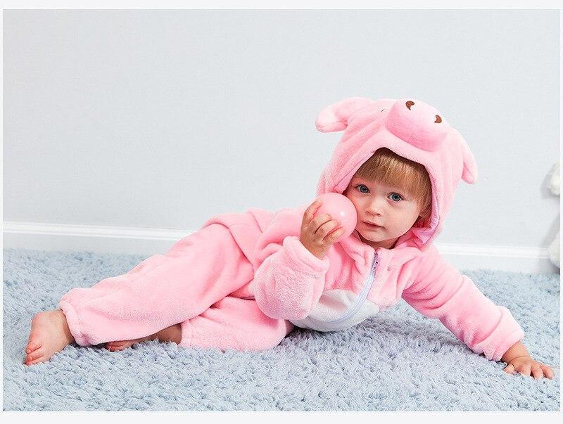 HTB1caXJd.GF3KVjSZFoq6zmpFXa7 Cute Cartoon Flannel Baby Rompers Novelty Rabbit Cotton Baby Boys Girls Animal Rompers Stitch Baby's Sets kigurumi New born 2019