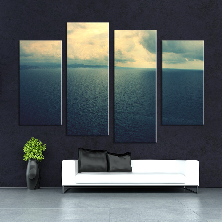 2017 Sale New printed by machines The Beach Sunset Unframed Wall Picture Art wall Painting Home Decoration Printed On Canvas