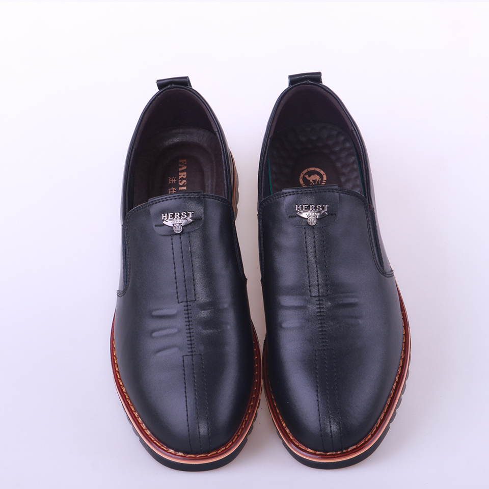 British Men's Casual Shoes Soft Bottom Black Comfortable Slip On Flats Hot Sale Men Genuine Leather Shoes Plus Big Size NP009