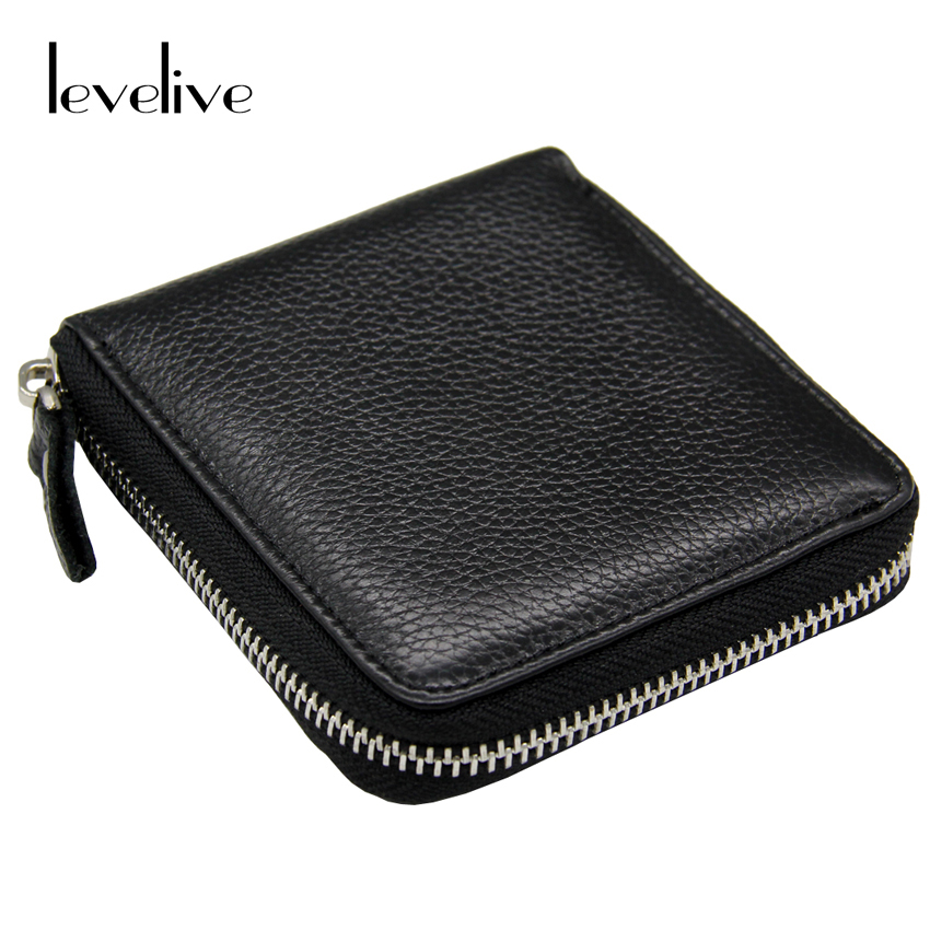 LEVELIVE Casual Genuine Leather Men's Zipper Wallet Men Cow Leather Small Wallets Card Holder Coin Pocket Purse Male Carteras levelive mens genuine leather hasp zipper wallets men real cowhide wallet coin pocket card holder male purse carteira masculina