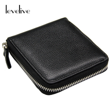 LEVELIVE Casual Soft Genuine Leather Men's Zipper Wallet Men Real Cowhide Leather Small Wallets with Coin Pocket Male Carteras