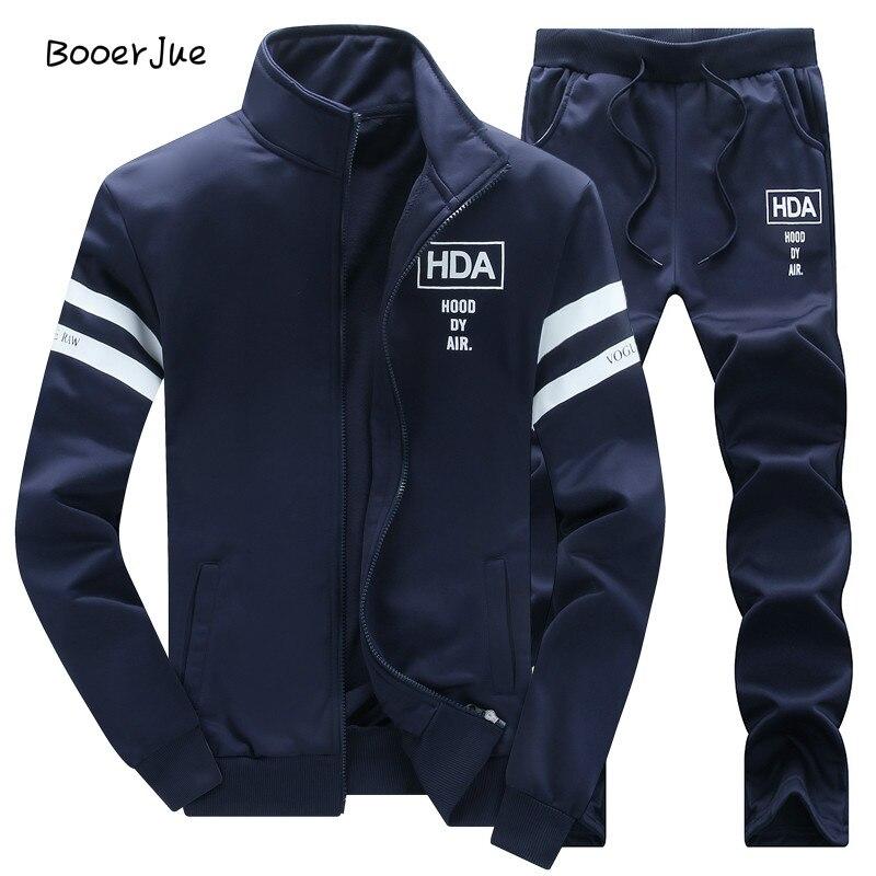 Sweatshirt Männer Trainingsanzug Männer Set Schweiß Neue 2018 Marke Herbst Winter Fleece 2 stücke Stehen Kragen Fleece Patchwork Casual Hoodie männer
