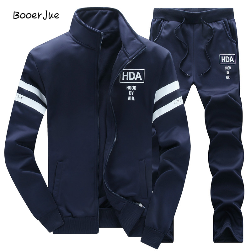 Sweatshirt Men Tracksuit Men Set Sweat New Brand Autumn Winter Fleece 2pcs Stand Collar Fleece Patchwork Casual Hoodie Men