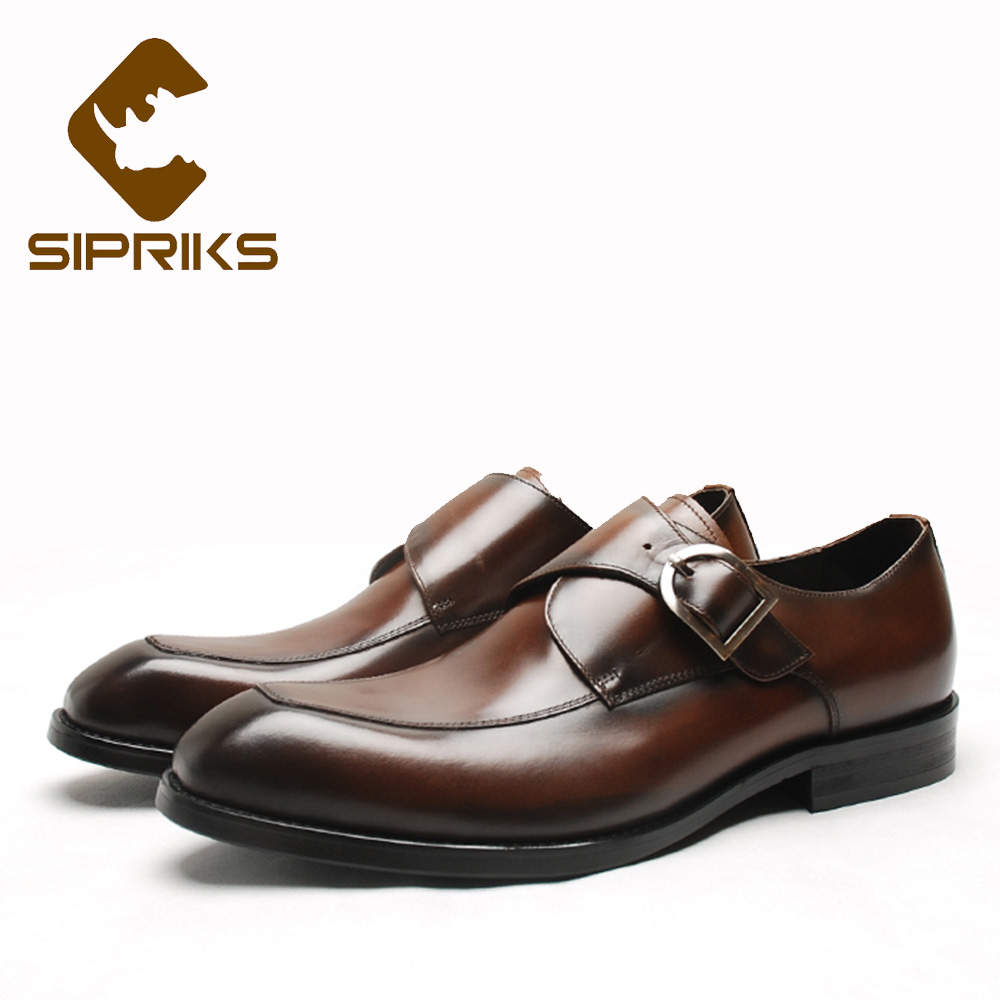 Sipriks High Quality Mens Genuine Leather Brown Dress Shoes Pointed Monk Strap Shoes Elegant Grain Leather Office Formal Shoes sipriks mens single monk strap shoes fashion mens topsiders shoes pointed toe real leather dress shoes with buckle strap work