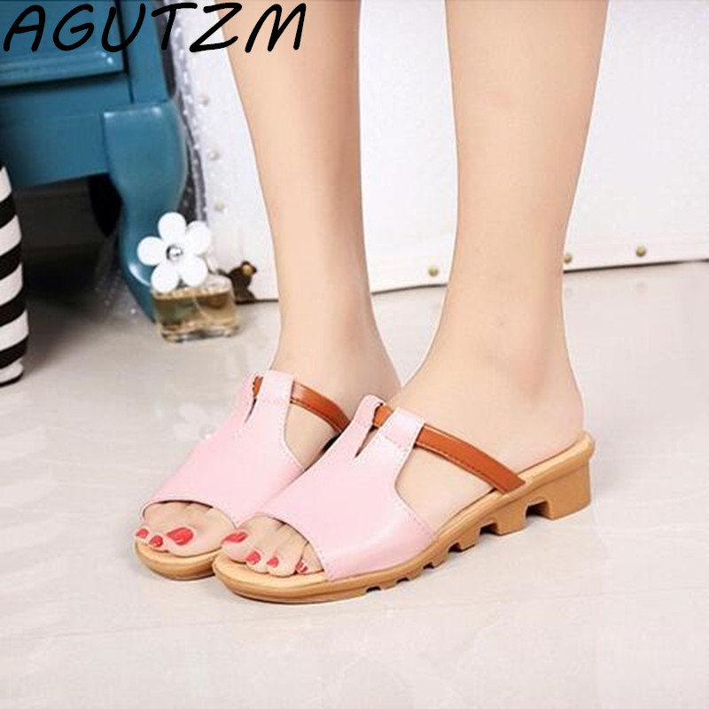 AGUTZM 2019 Summer Women Brand Shoes Casual Wedges Female Sandals Open Top Fashion Slippers Sandalias Mujer Size 35-40AGUTZM 2019 Summer Women Brand Shoes Casual Wedges Female Sandals Open Top Fashion Slippers Sandalias Mujer Size 35-40