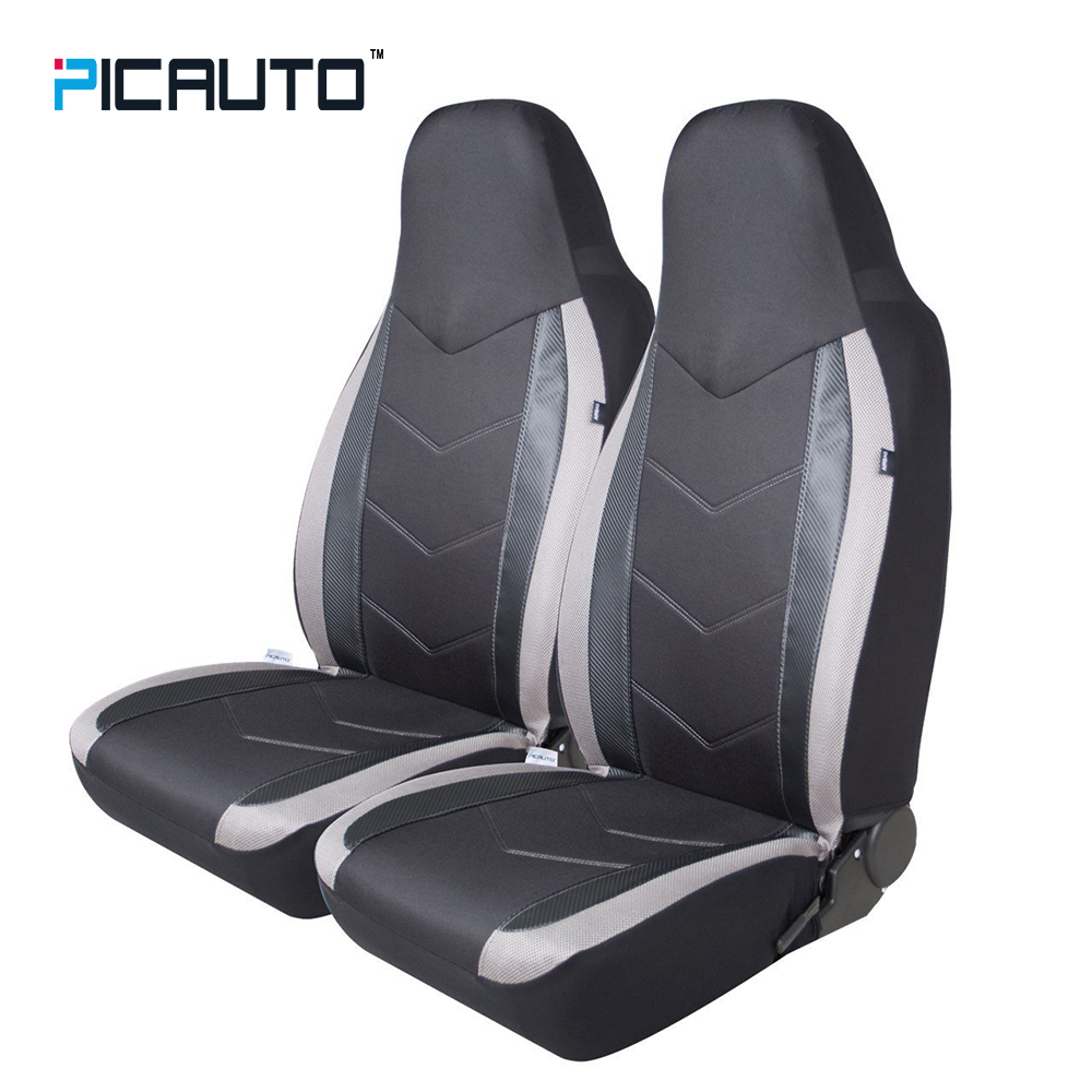 Pic Auto High Back Seat Covers Carbon Fiber Mesh Design Sport Cnc Led 5mm Super Bright White Putih Clear Style Car Protector Universal Fit Cars Airbag Compatible Grey
