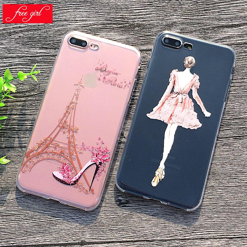 Soft Silicon Case For iPhone 7 8 6S Plus Cover Celular Phone Cases Capa For iPhone 5S SE Print Girl High Heels 2018 Newest Hot