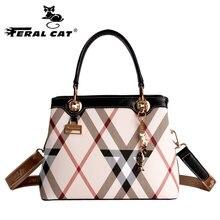 Feral cat lujo de las mujeres bolsos de diseñadores famosos bolsos de hombro de cuero de alta calidad de la muchacha femenina crossbody messenger bag 6016