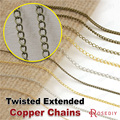 (23557)2 or 5 Meters Gold Silver Antique Bronze color Copper Twisted Extended Necklace Chains