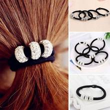 5 Pcs Elastic Hair Bands with Three Rhinestones Ball Hair Accessories Lovely Gift for women Hair Bands(China)