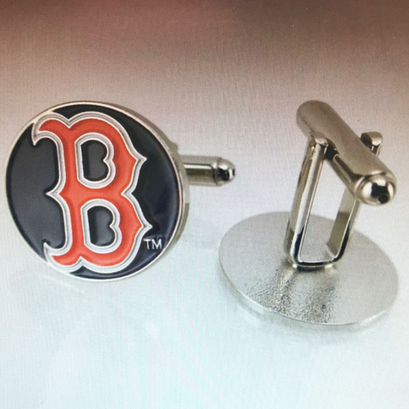 1 Pair High Quality Bronze Enamel Boston Red Sox Cufflink Best Jewelry For Fathers day Gift