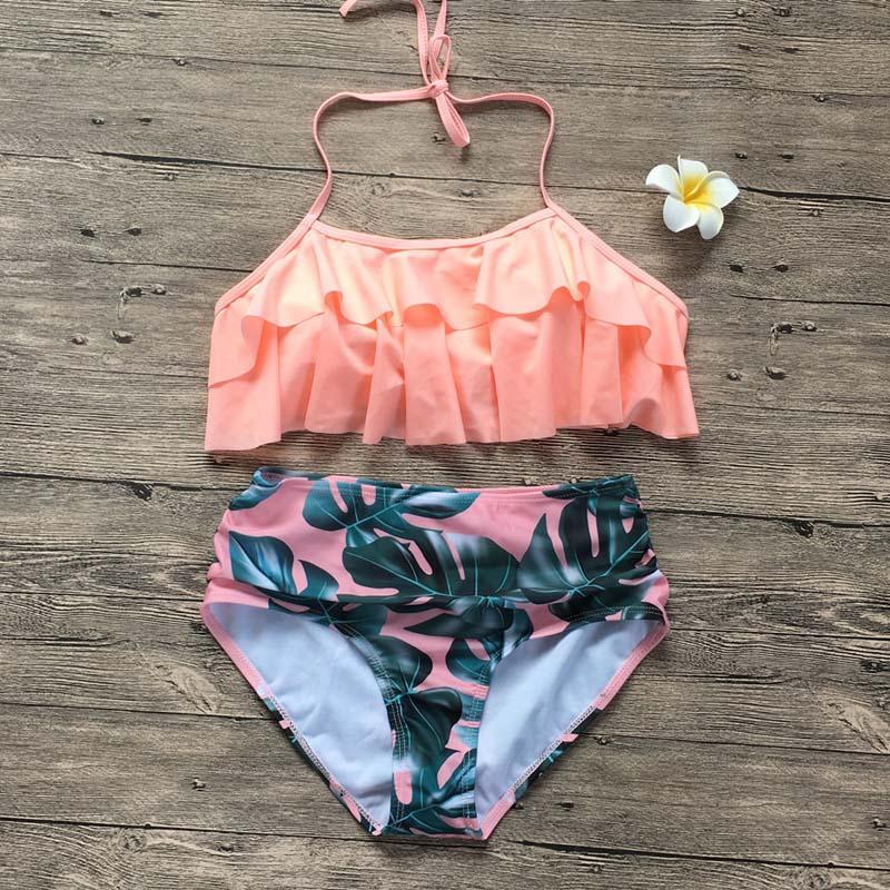HTB1caZ.RrrpK1RjSZTEq6AWAVXaH Swimwear Women Bikini 2019 Mujer High Waist Swimsuits Ruffles Bikinis Swimming Suit For Womens Push Up Bathing Suits Biquini