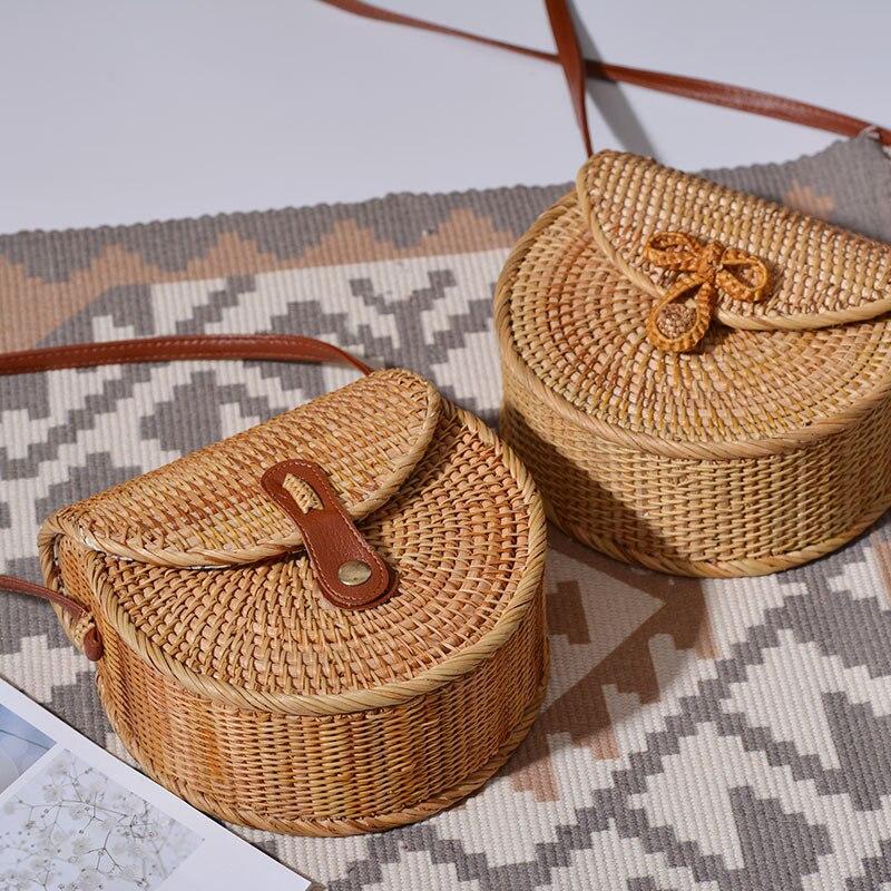 Nouveau sac à bandoulière tissé d'algues sac à bandoulière mode rétro broderie IOVE canne herbe tissé sac de plage en gros