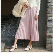 2018 Women Elegant High Waist Summer Midi Skirt Saias Women Suede Skirts Long Pleated Skirts Pink Female Vintage Skirts Saia