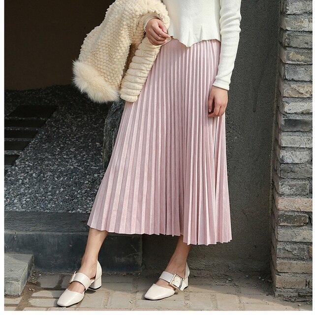2019 Women Elegant High Waist Summer Midi Skirt Saias Women Suede Skirts Long Pleated Skirts Pink Female Vintage Skirts Saia