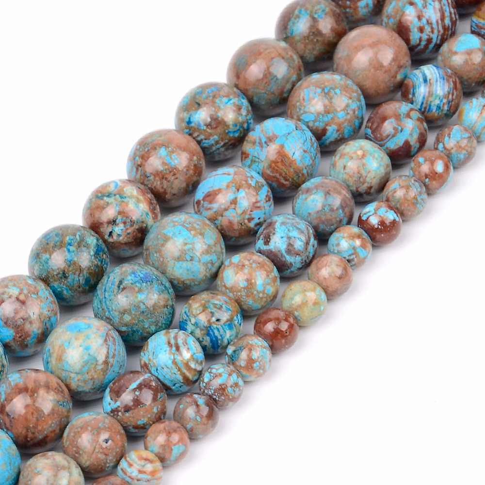 Wholesale Natural Mineral Stone 4 6 8 10 12mm Blue Crazy Agates Round Loose Beads For Diy Jewelry Making Bracelet Necklace 15""