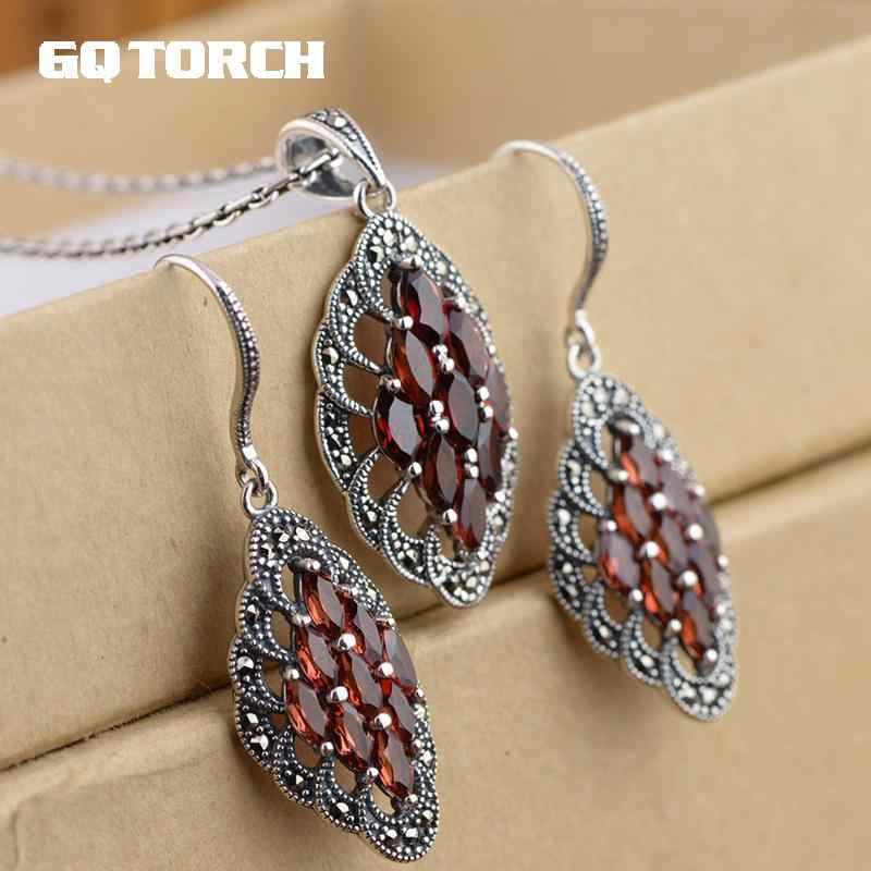 Real Pure 925 Sterling Silver Gemstone Pendant And Earrings For Women Natural Red Garnet Vintage Style Fine Jewelry
