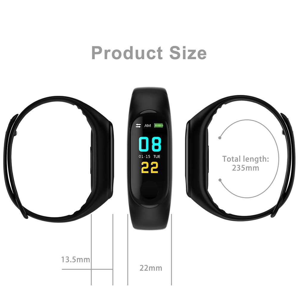 Pedometer Waterproof Running Sports Tracker Step M3 Heart Rate Monitor Counter Walking Fitness Wrist Band Watch Bracelet