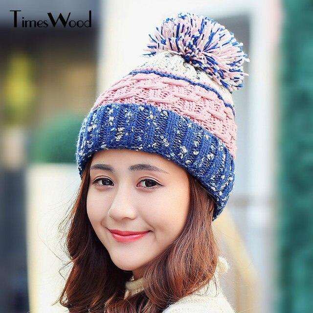 44ee42c4116 New Fabric Patchwork Knit Hats Autumn Winter Knitted Cap For Women Kawaii  Warm Cute Womens Accessories Skullies Handmade Beanies