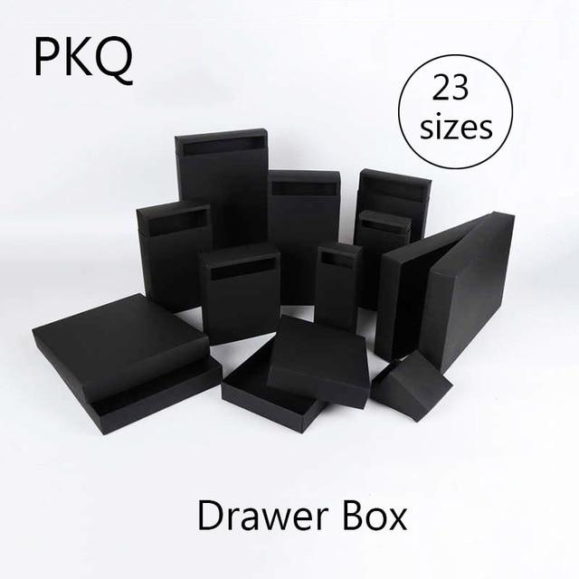 20 pcs/lot grand kraft noir de mariage boîte cadeau en carton tiroir