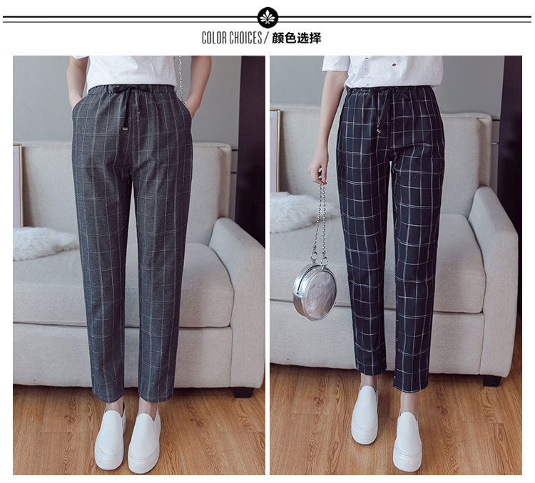 Make English plaid pants female easy to restore ancient ways recreational pants the spring and autumn period and the new female 6
