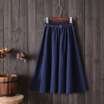 Midi Knee Length Summer Skirt Women With Belt 2019 Fashion Korean Ladies High Waist Pleated A-line School Skirt Female 1