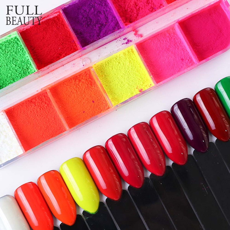 Mixed 12 Color Fluorescent Nail Art Pigment Neon Summer Shinny Glitter Nail Powder Dust Ombre Gradient Manicure Tool CHYE-in Nail Glitter from Beauty & Health