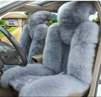 1 Pair Blue Grey Color Natural Fur Front Seat Cover Sheepskin Car Cushion Vehicle Seat Cover