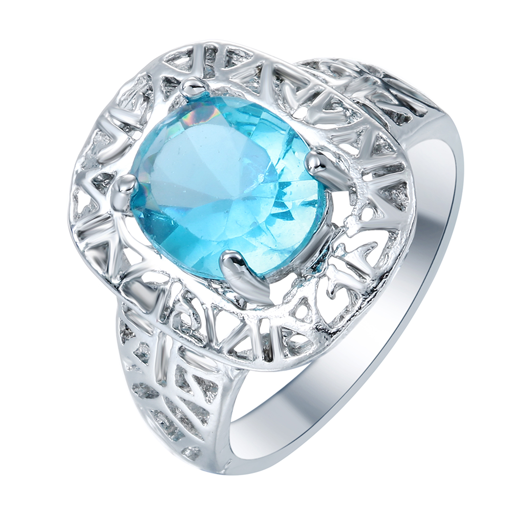 Fashion Jewelry New Blue Hollow Vintage Silver Plated Blue Engagement Rings For Women Finger Design Gift Wholesale Drop Shipping In Rings From