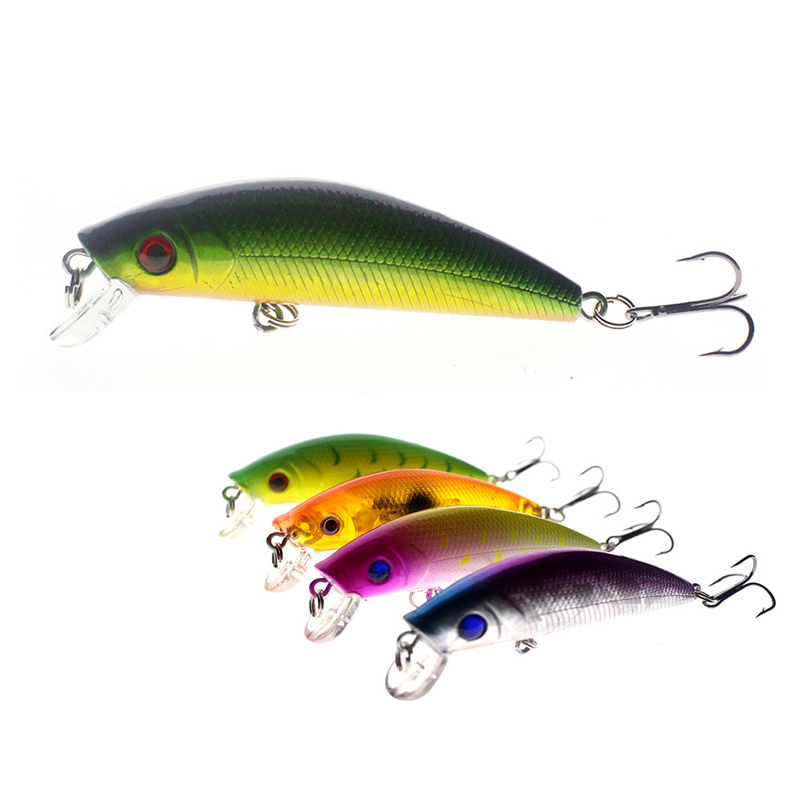 1Pcs Bright Colorful 7cm 7.5g Hard Bait Minnow Fishing Lures Tackle 3D Fish Eyes Hooks diving perch wobbler Fishing Accessory 1pcs 16 5cm 29g big minnow fishing lures deep sea bass lure artificial wobbler fish swim bait diving 3d eyes