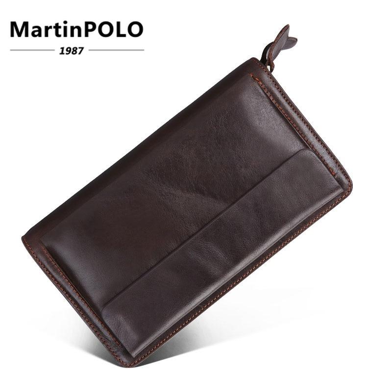 Brieftasche Leder Doppel Halter Lange Geldbörse Männlichen Brieftaschen Tasche J9370 Echtem reißverschluss Männer Geld Aus Coffee Kupplung Karte Handtasche pZxXntwFEq