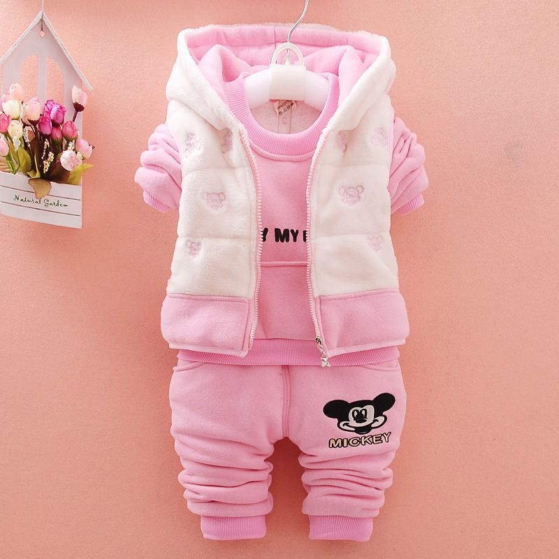 Winter Baby Girls Boys Clothes Sets Children Mickey Monkey Cotton-velvet t-shirt+Vest+Pant Kids Infant toddler Warm Outdoot Suit 2015 new autumn winter warm boys girls suit children s sets baby boys hooded clothing set girl kids sets sweatshirts and pant