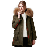 High Quality 2018 Winter Jacket Women Large Raccoon Fur Collar Women's Parka Thick Cotton Padded Lining Female Parka Army Green