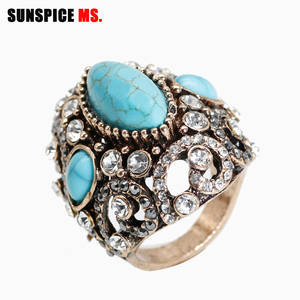 Antique Rings Natural-Stone Women Jewelry Engagement Gold-Color Vintage Wedding for Blue
