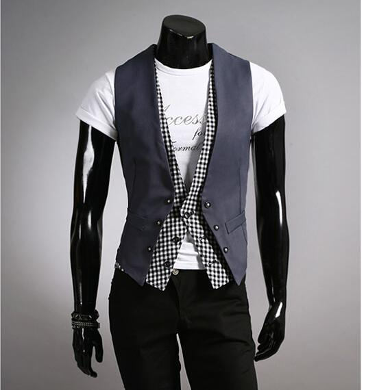 Новое поступление черный серый хлопок костюм жилет мужчин мода тонкий фитнес мужской жилет блейзер топы платья жилеты для мужчин M33