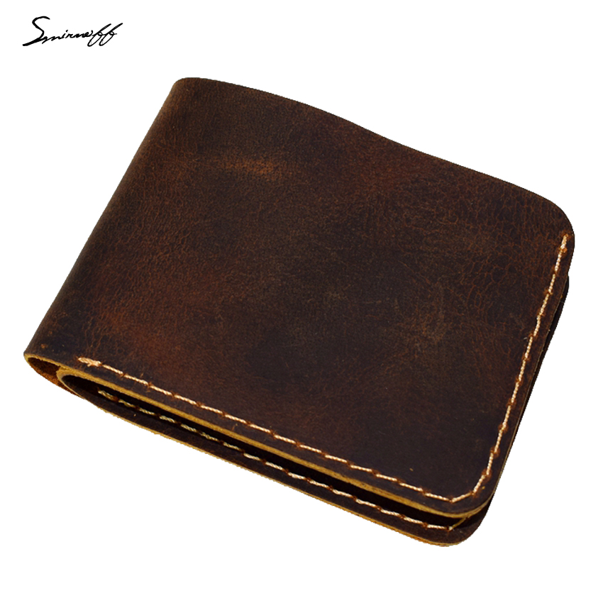 Smirnoff Genuine Leather Men Wallet for Rouble Handmade Slim Thin Custom Name Cowhide Leather Men Wallet Short Purse Bag Male genuine leather men wallet super thin leather handmade custom name slim purse men short small wallet card purse male tw1641