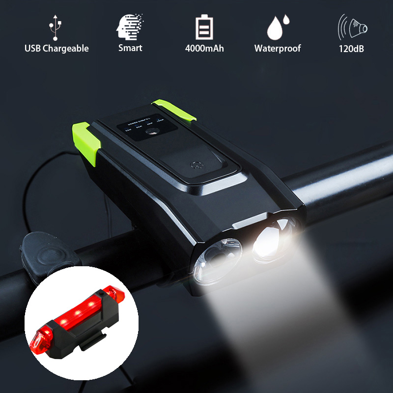 Movigor 2 In 1 Bicycle Light Bell 4000mAh MTB Road Bike LED Headlight 120dB Cycling Electric Horn Smart Induction Bicycle Lamp