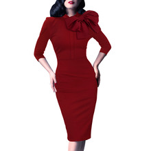 Vfemage Womens Elegant 1950s Vintage Pinup Retro Rockabilly 3/4 Sleeve Bow Party Work Sheath Bodycon Wiggle Pencil Dress 142(China)