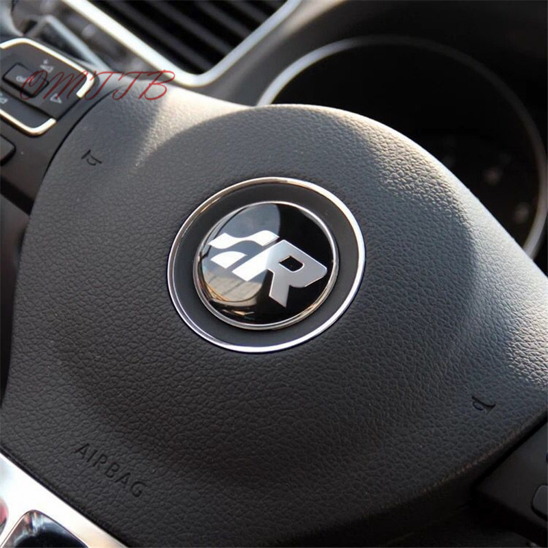 GTI Wolfsburg R logo Steering Wheel Badge Emblem Sticker For VW Golf 4 5 6 7 MK4 R32 Polo car cover Auto Accessories Car Styling special hand stitched black leather steering wheel cover for vw golf 7 polo 2014 2015