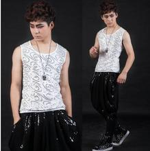 2017 Personality sequins Singer stage males's vest males model roupas masculinas attractive tank prime camisetas regatas 3XL Customizable