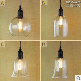 ФОТО 60W American Retro Loft Edison Vintage Lamp Industrial Pendant Light With Glass Lampshade , Lamparas Colgantes