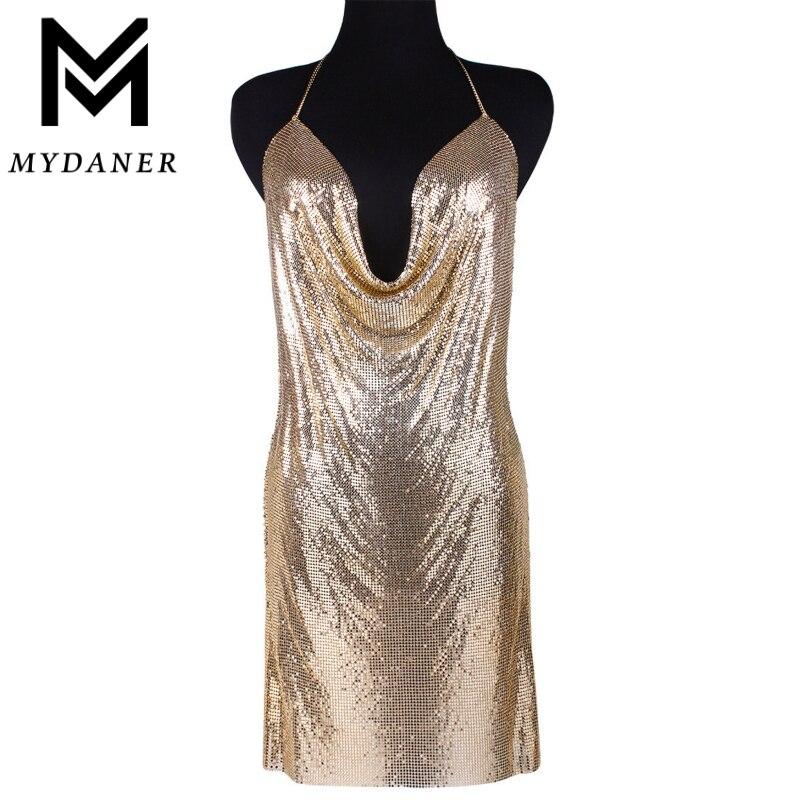 MYDANER 3 Cores Kendall Jenner Vestido Estilo De Cota De Malha Colar Gargantilha Envoltório Bra Cadeia De Moda As Mulheres Se Vestem de Desgaste Do Corpo Jóias