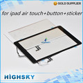 Quinto lcd del reemplazo de cristal con cable flex para ipad air 5 táctil digitalizador + sticker + botón casero + herramientas 1 unidades envío gratis