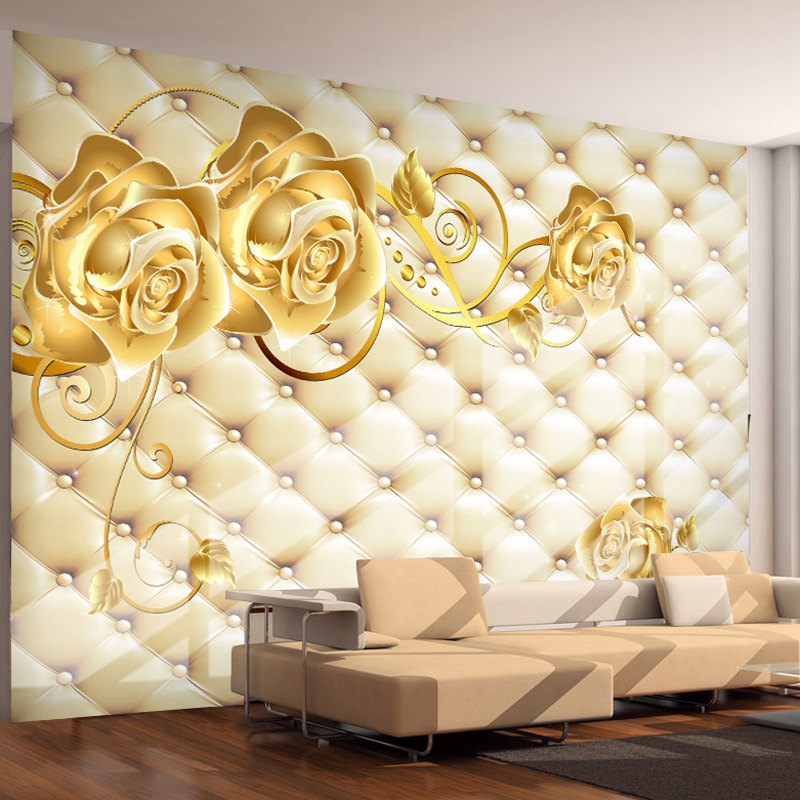 Buy golden rose photo wallpaper 3d custom for Luxury 3d wallpaper