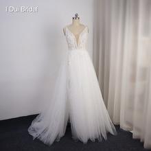 Split Bein Hochzeit Kleid Kurz Innerhalb Lange Außerhalb Floral Spitze mit Bogen Krawatte Brautkleid