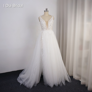 Image 1 - Split Leg Wedding Dress Short Inside Long Outside Floral Lace with Bow Tie Bridal Gown