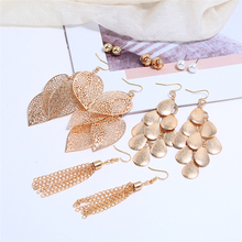 Bohopan 6 Pairs/Set Woman Gold Earrings Set Fashion Bohemia Style Female Dangle Pearl/Leaves/Sequins For Women