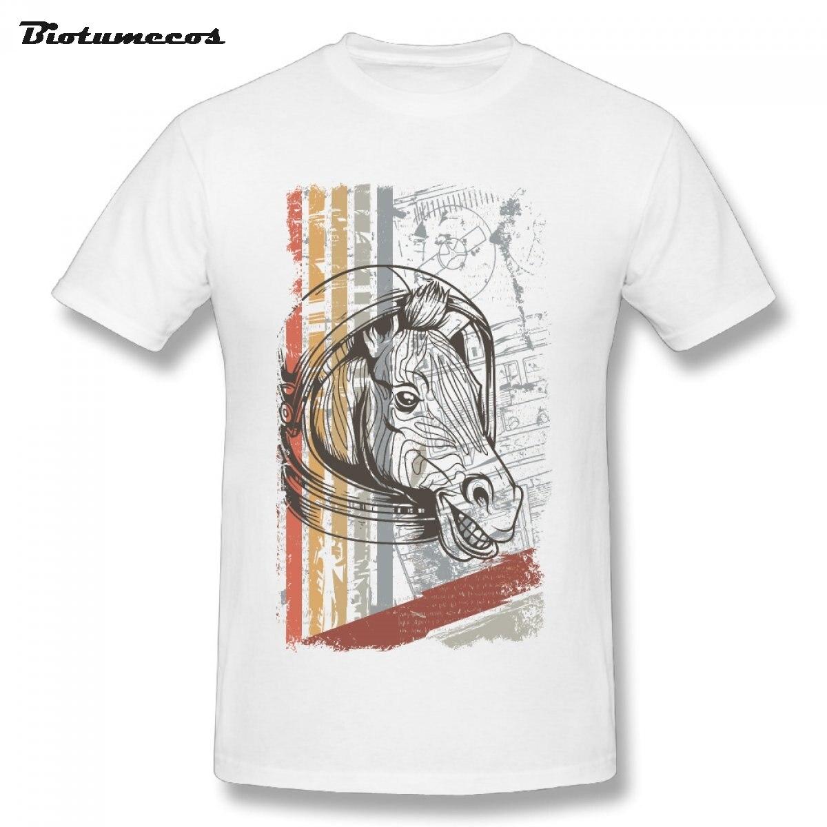 Летние Для мужчин футболка лошадь носить шлем с принтом короткий рукав с круглым вырезом, 100% хлопковые футболки рубашка Верхняя часть одежд...