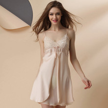 A10 Women's silk imitation women's underwear Autumn Dress Sleepwear women sexy Comfortable night dress lace Night Robes
